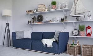 沙发与置物架上的各种物品高清图片
