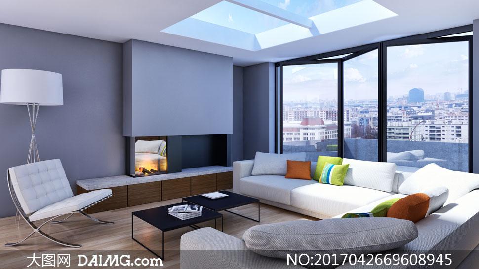 有天窗的寬敞客廳內景陳設高清圖片