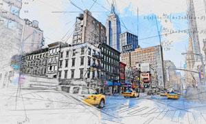 建筑物转手绘线稿草图效果PS动作