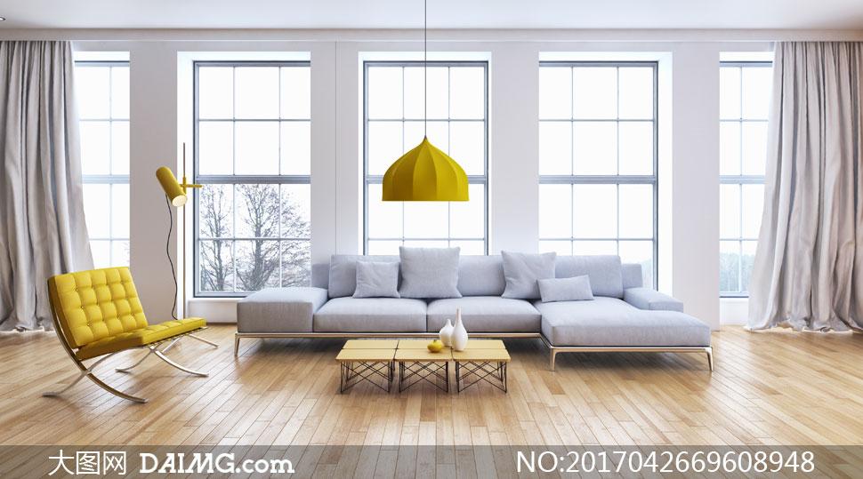 木地板吊灯黄色落地灯沙发椅休闲椅沙发茶几枕头靠枕抱枕窗户窗帘窗外