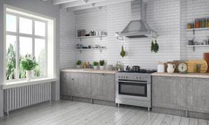 厨房厨具与植物盆栽等陈设高清图片