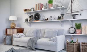 沙发与置物架上的饰品摄影高清图片
