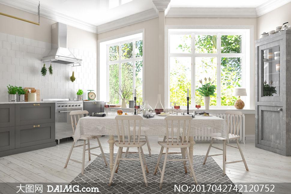 装修效果图装潢房间厨房餐厅油烟机植物盆栽绿植橱柜餐具餐桌椅子桌子