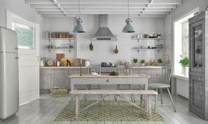 餐厅桌椅与厨房橱柜置物架高清图片