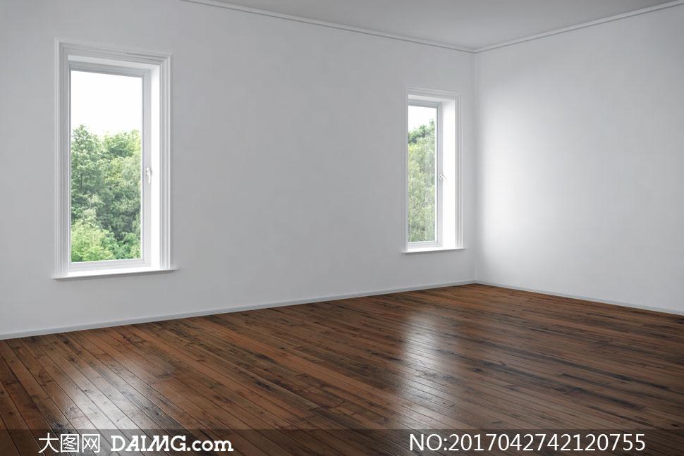 窗外风景与空空如也的房子高清图片