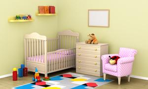房间小床与置物架抽屉柜等高清图片