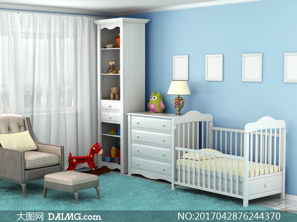 房间陈列柜照片墙与婴儿床高清图片