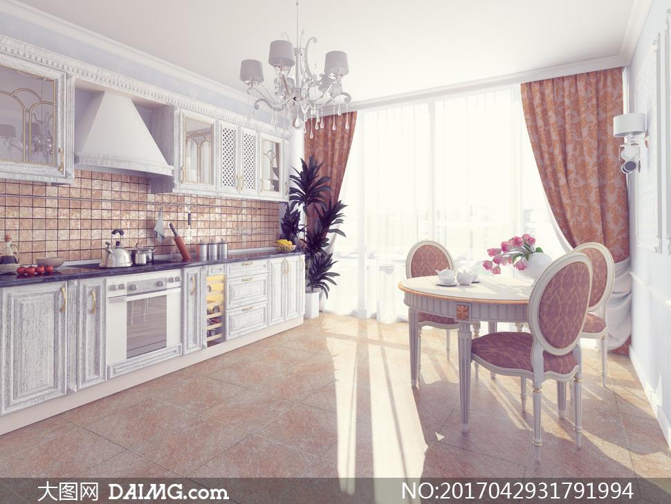 餐桌吊灯与厨房装修效果图高清图片
