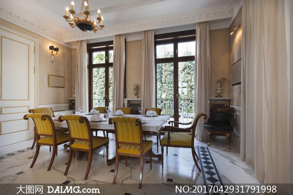 欧式窗帘窗户桌子椅子桌椅餐桌地砖壁灯吊灯吊顶餐具
