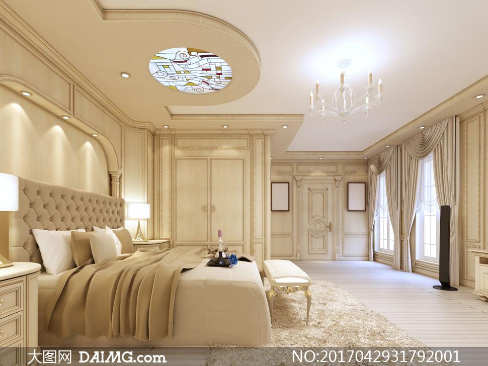 开着灯的欧式卧室房间摄影高清图片