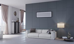 沙发落地灯与空白装饰画等高清图片
