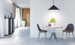 室内绿植与在吊灯下的桌椅高清图片