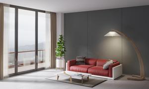客厅的落地灯沙发布置摄影高清图片