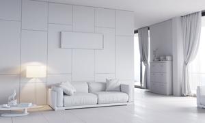 亮着灯的客厅沙发摆放效果高清图片