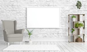 房间沙发与植物置物架摄影高清图片