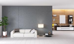 沙发落地灯与室内绿色植物高清图片