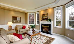 室内沙发茶几壁炉与装饰画高清图片