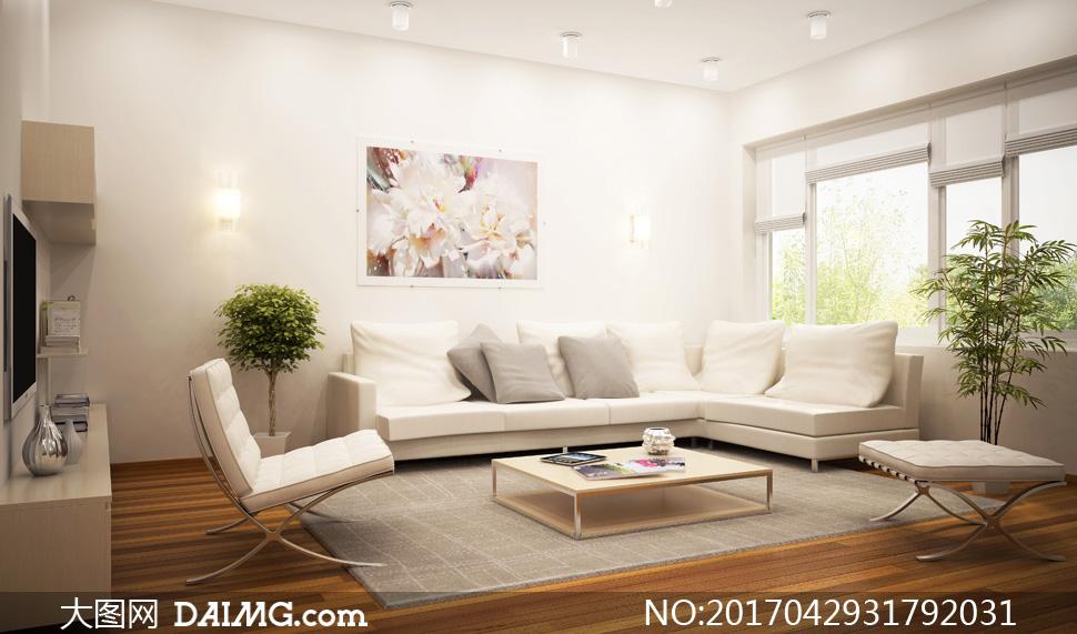 明亮光照客廳內景陳設攝影高清圖片