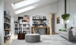阁楼房间书架与照片墙摄影高清图片