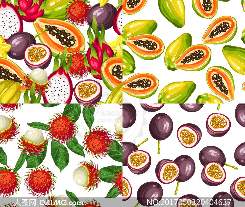 火龙果等水果元素无缝图案矢量素材