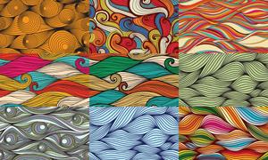 五彩缤纷线条波形无缝图案矢量素材