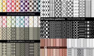 黑白与多彩等无缝拼贴图案矢量素材