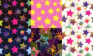 五角星与喷溅元素无缝背景矢量素材