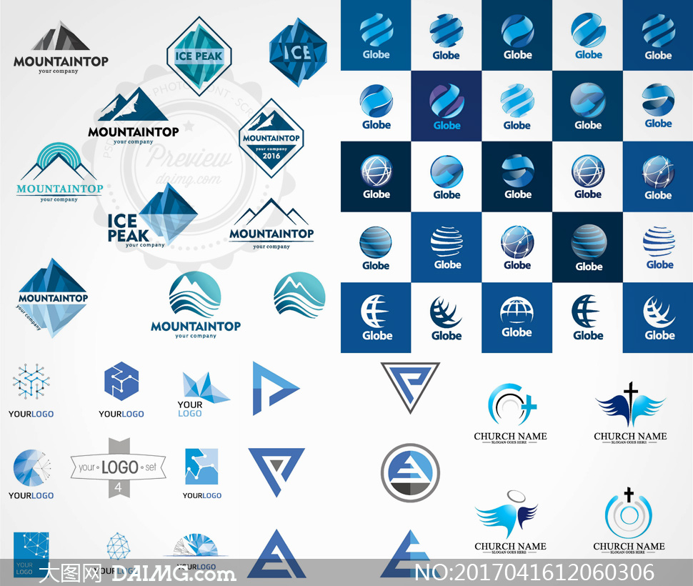 logo设计山峰高山蓝色几何图形抽象地球翅膀圆形圆环