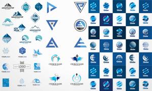 山峰与地球等元素标志设计矢量素材