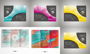 不同配色的折页版式设计矢量素材V5