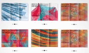 不同配色的折页版式设计矢量素材V6