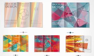 不同配色的折页版式设计矢量素材V7