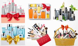 蝴蝶结与化妆工具护肤品等矢量素材