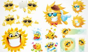 可爱卡通风格太阳创意设计矢量素材