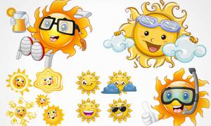 拟人化的卡通太阳创意设计矢量素材