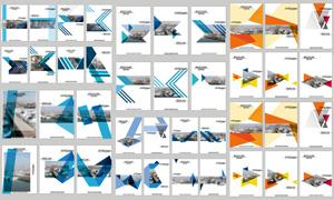 几何图形点缀的画册封面矢量素材V3