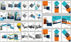 几何图形点缀的画册封面矢量素材V4