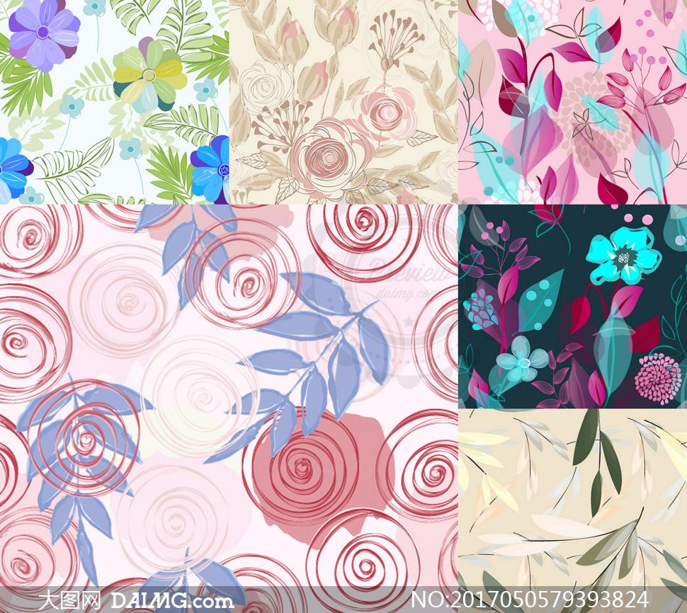 花卉元素无缝底纹背景矢量素材集v1
