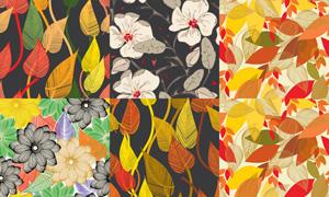 花卉元素无缝底纹背景矢量素材集V2