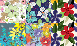 花卉元素无缝底纹背景矢量素材集V3