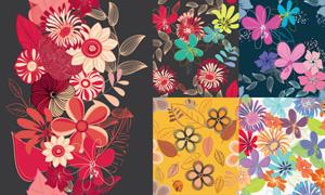 花卉元素无缝底纹背景矢量素材集V4