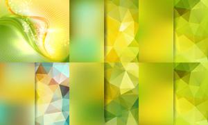 多边形与绚丽线条元素背景矢量素材