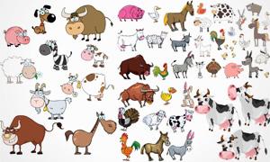 多种可爱风格农场动物主题矢量素材