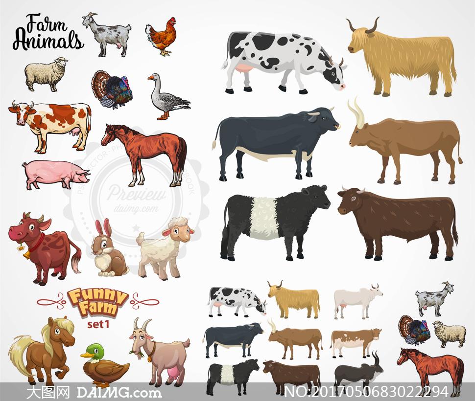 兔子小羊与马匹等农场动物矢量素材