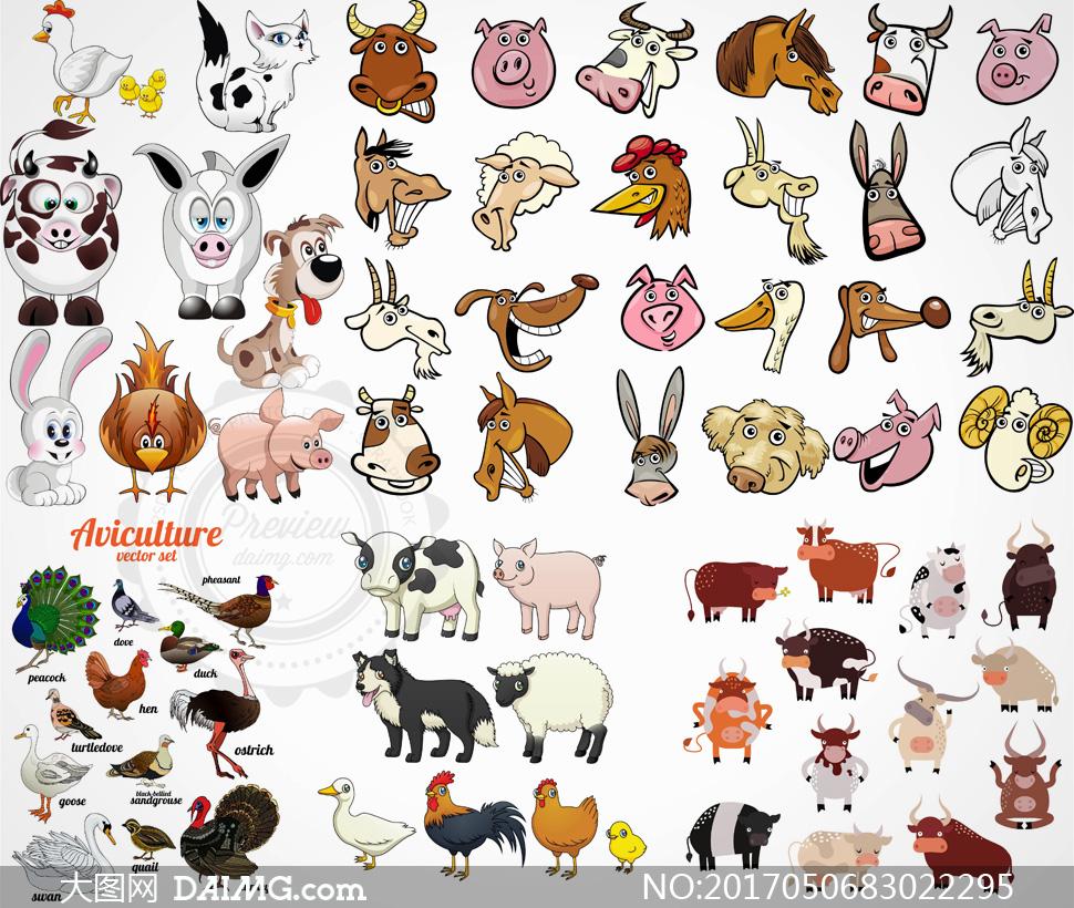 奶牛卡通可爱孔雀鸽子天鹅麻雀鸵鸟兔子小猪小猫猫咪
