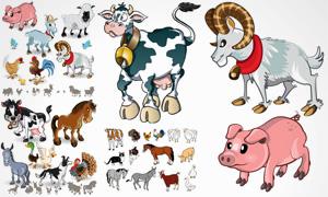 黑猫山羊与母鸡等动物主题矢量素材