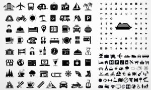 黑白风格旅行交通主题图标矢量素材