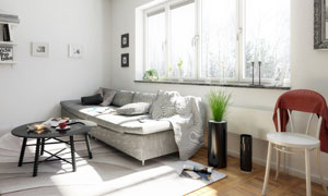茶几与靠窗摆放的沙发摄影高清图片