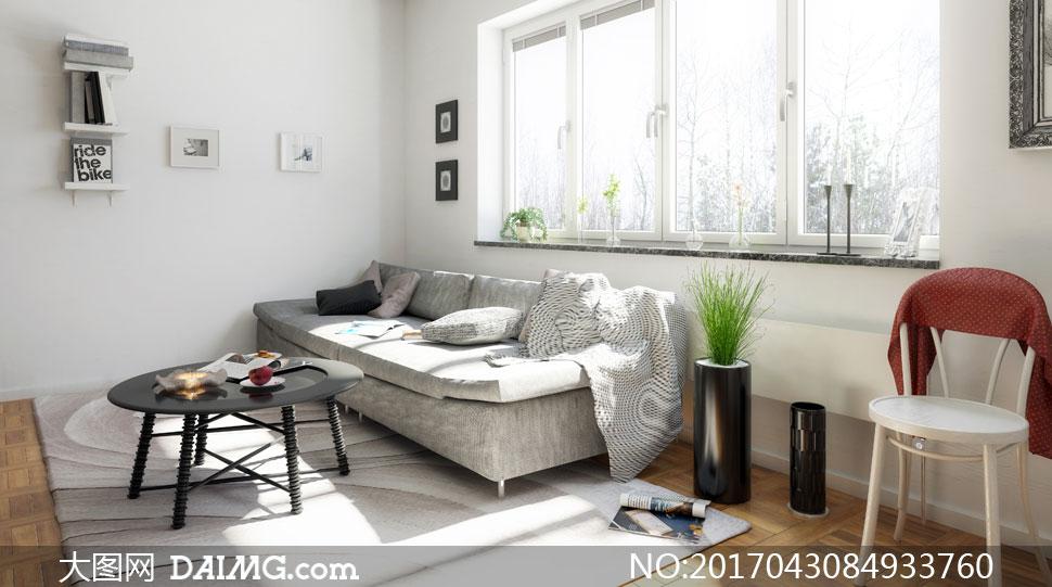 茶几与靠窗摆放的沙发摄影高清图片图片