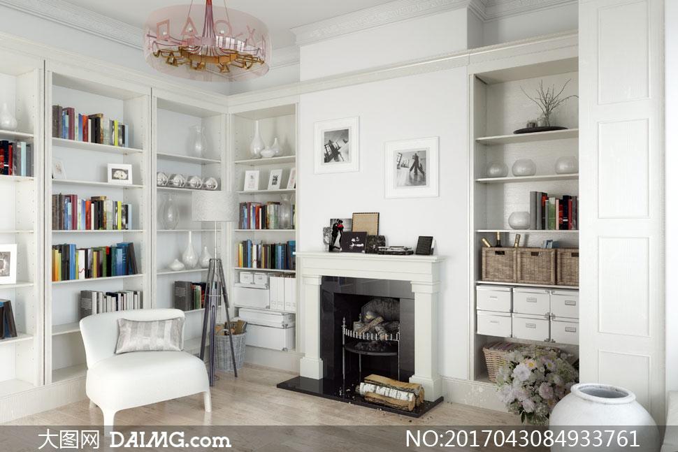 沙发与开放式收纳橱柜摄影高清图片